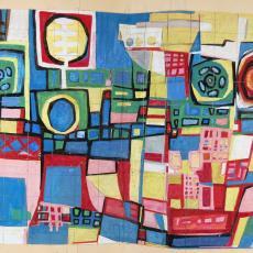 Ontwerp voor wandtapijt met abstract patroon, een stad symboliserend - Ria van Oerle-van Gorp, De Gouden Spin (Leiden)