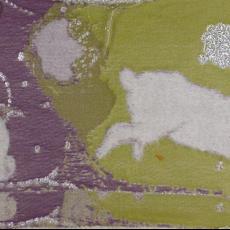 Proefstaal voor geweven stof, bekleding van wanden en zitelement in installatie 'Rabbits first' - Berend Strik, Textielmuseum (registratiefoto), Nederlands Textielmuseum