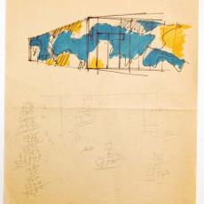 Schets voor wandkleed in hoekopstelling - Textielmuseum (registratiefoto), Wil Fruytier