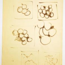 Schetsjes voor wandkleed 'Capricio' (?) - Wil Fruytier, Textielmuseum (registratiefoto)