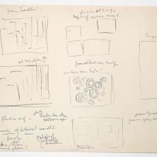 Schetsjes voor wandkleden, sgraffito, schilderijen of werken in cement - Wil Fruytier