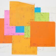 Ontwerp voor wandkleed 'Zonder titel', dat bestaat uit zeven losse felgekleurde kleden - Wil Fruytier