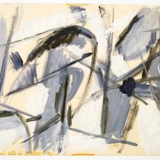 Geschilderde schets voor wandkleed (?) - Wil Fruytier, Textielmuseum (registratiefoto)