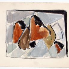 Ontwerptekening voor wandkleed 'Kwarts' (?) - Wil Fruytier, Textielmuseum (registratiefoto)