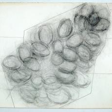 Ontwerpschets voor wandkleed met cirkelvormen - Wil Fruytier, Textielmuseum (registratiefoto), Textielmuseum (registratiefoto)