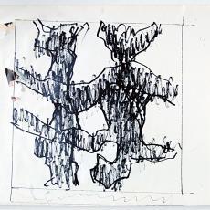Ontwerpschets voor touwkleed 'Zonder titel', voor Ciba Geigy te Arnhem - Wil Fruytier, Textielmuseum (registratiefoto)