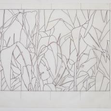 Ontwerptekening voor wandkleed 'Maïs' (?) - Textielmuseum (registratiefoto), Wil Fruytier, Textielmuseum (registratiefoto)