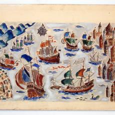 Tekening van zeegezicht met zeilschepen - Wil Fruytier
